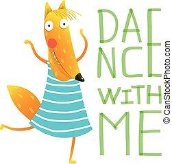 Cartoon orange fox dancing
