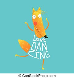 Cartoon orange fox in dress text Love Dancing