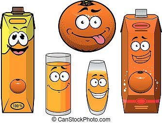 Cartoon orange fruit, juice containers and glasses