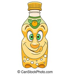 Cartoon Orange Juice Bottle