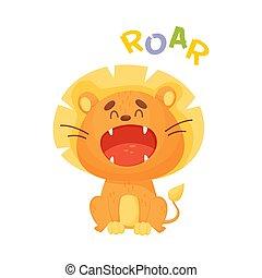 Cartoon orange lion. Vector illustration on a white background.