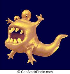 Cartoon orange monster tadpole. 3D illustration.