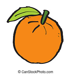 Cartoon orange on white background, vector illustration
