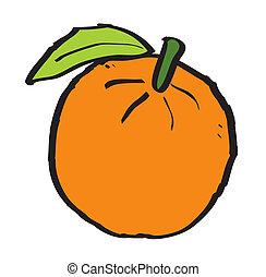 Cartoon orange on white background, vector illustration