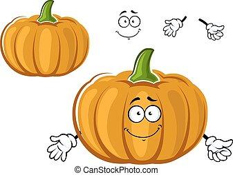 Cartoon orange ripe pumpkin vegetable character