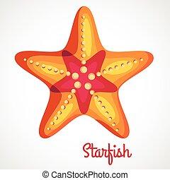 Cartoon orange starfish