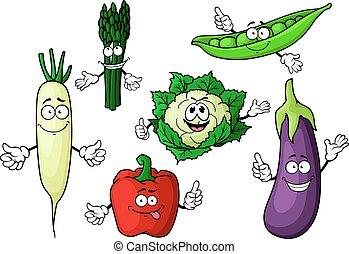 Cartoon organic garden vegetables characters