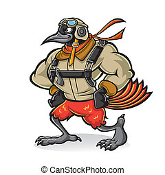 Cartoon oriole bird aviator - Cartoon oriole bird gallant...