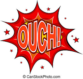 Cartoon OUCH! on a white background. Vector illustration.