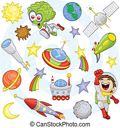 An illustration of a cartoon boy (space cadet) and his fantasy world: an alien, spaceships, planets, stars, comets, the sun, the moon, an asteroid, a telescope, a moon rover, an alien weapon and a satellite.