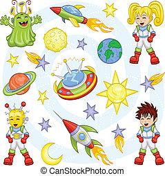 Cartoon outer space set - An illustration of cartoon ...