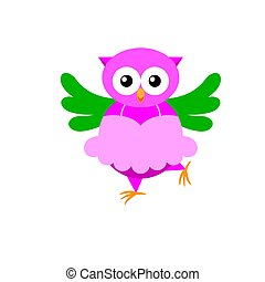 Cartoon owl ballerina isolated on white backround. Owl in pink tutu