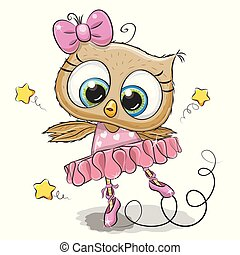Cartoon Owl Ballerina on a white background
