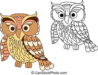 Cartoon owl bird in pastel colors