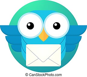 cartoon owl character with a letter