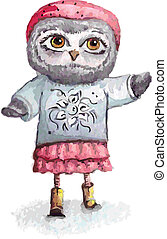 Cartoon owl concept design. Bird are isolated on white background.