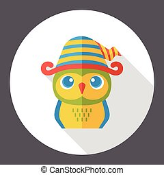 cartoon owl flat icon