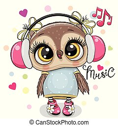 Cartoon Owl girl with headphones on a white background