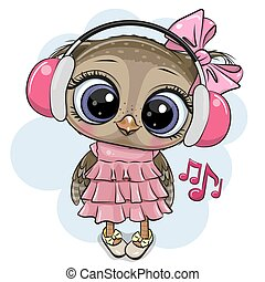 Cartoon Owl girl with pink headphones on a white background