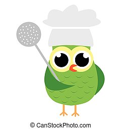 Cartoon Owl in chef costume - Vector illustration of a...