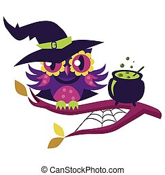 Cartoon owl in Halloween costume of witch. Mystery night-bird in hex suit sitting with potty potion on tree branch vector illustration. All Hallows Eve concept. Isolated on white background.