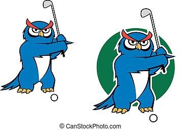 Cartoon owl mascot playing golf