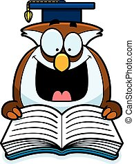 Cartoon Owl Reading