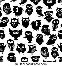 Cartoon owl seamless pattern. Black cute night birds...