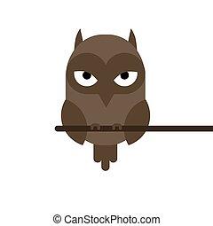 cartoon owl sitting on a branch