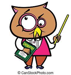 cartoon owl teacher with a pointer and book