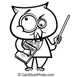 cartoon owl teacher with a pointer and book
