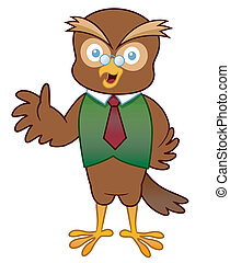Cartoon Owl - Vector illustration of Cartoon Professor Owl