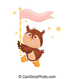 Cartoon owl with a flag. Vector illustration on a white background.