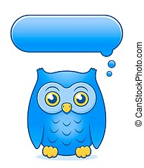 Cartoon owl with blank thought or speech bubble
