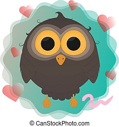 cartoon owl with worm vector illustration eps10