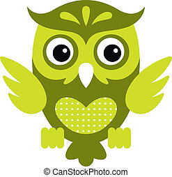 Cartoon Owl_1 - Vector illustration of a cute owl, isolated...