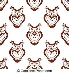 Cartoon owlet seamless pattern