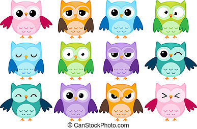 Cartoon owls - Set of 12 cartoon owls with various emotions