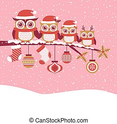 cartoon owls family red christmas