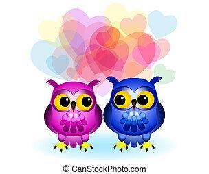 Cartoon owls in love on white
