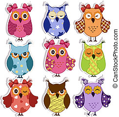 Cartoon owls - Nine fun owls with different emotions