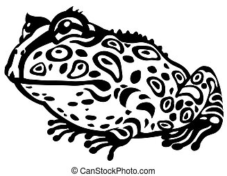 cartoon pacman frog black and white