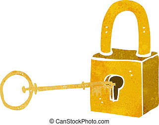 cartoon padlock and key