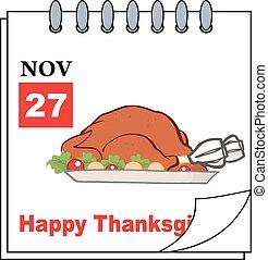 Cartoon Page With Roasted Turkey