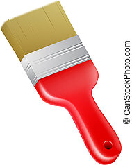 A drawing of a cartoon red paint brush