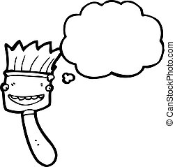 cartoon paint brush with thought bubble