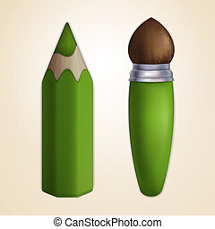 Cartoon paintbrush and pencil