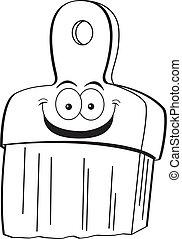 Cartoon Paintbrush (Black and White