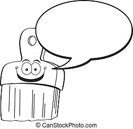 Cartoon paintbrush with a caption b