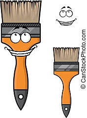Cartoon paintbrush with a wide happy smile